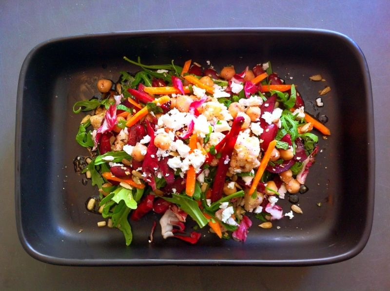 Chickpeas, Beetroot, Beans & Feta with a Ginger Lemon Dressing